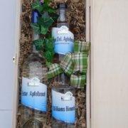 Obstbau Knaller Geschenk Holzverpackung Edelbrände klar