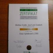 Obstbau Knaller Landessieger 2020 Edelbrand Elstar Steirische Landesbewertung Zertifikat