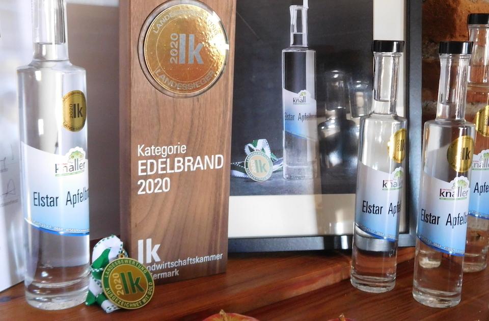 Obstbau Knaller Landessieger 2020 Edelbrand Elstar Steirische Landesbewertung Hofladen